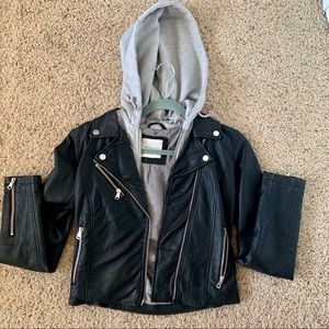 Leather Jacket Built-In Hood